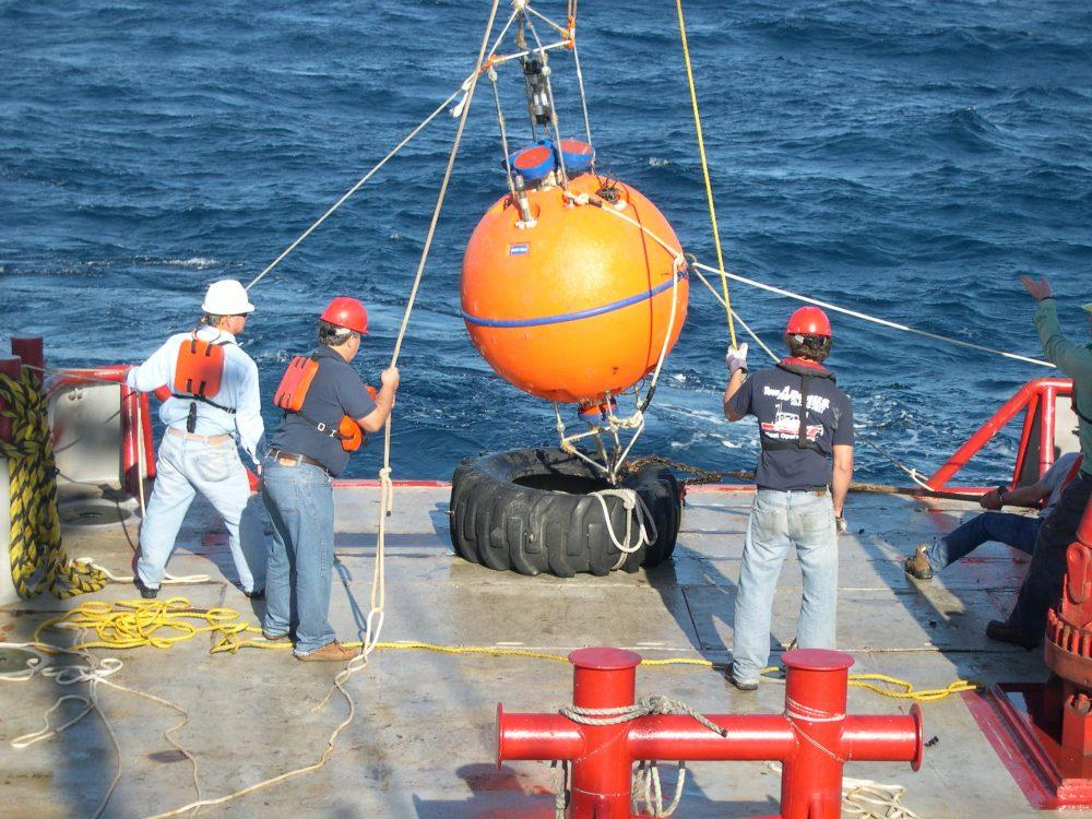 Deployment of a spherical ADCP buoy by Jon Wood Ocean Data Technologies