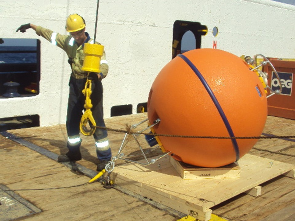 Preparing to Deploy Nortek AWAC in DeepWater Buoyancy 49 inch Spherical ADCP Buoy