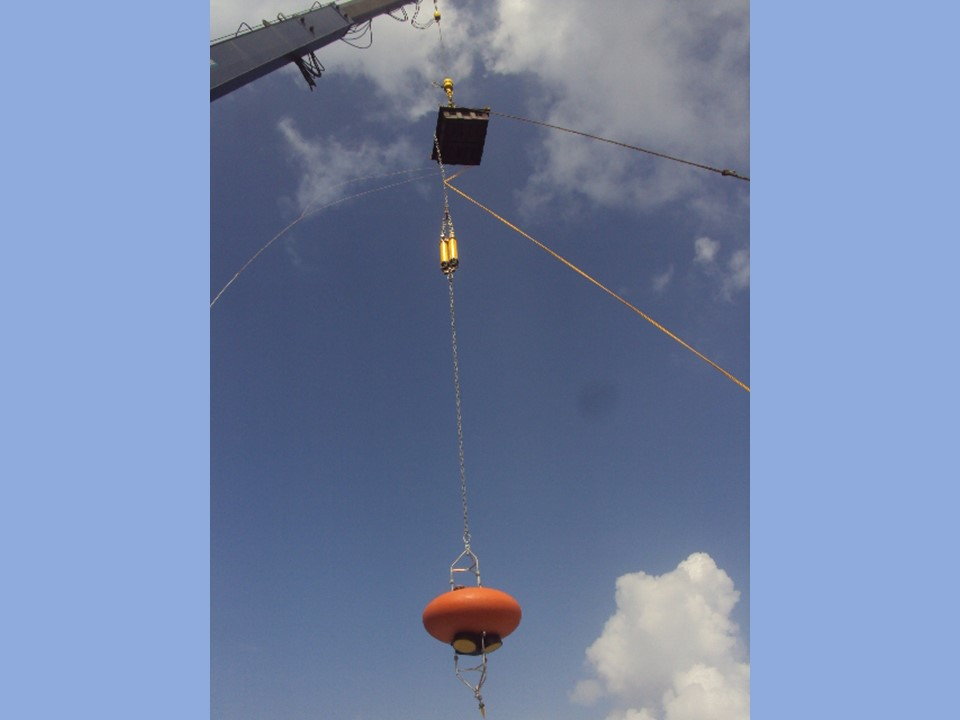 Single Point Mooring with Nortek Signature 55 ADCP in Custom Elliptical Buoy