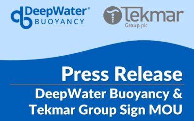 DeepWater Buoyancy & Tekmar Group Sign MOU