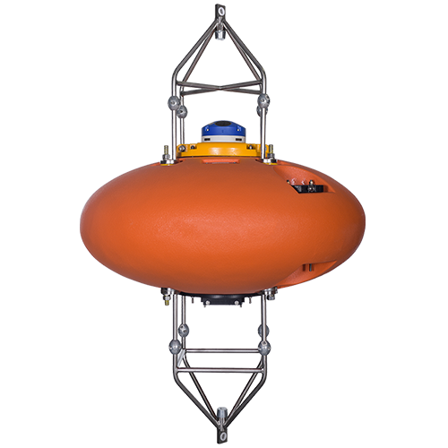 These buoys are have the same rugged design as the spherical ADCP buoys, but have an elliptical shape for higher current applications.