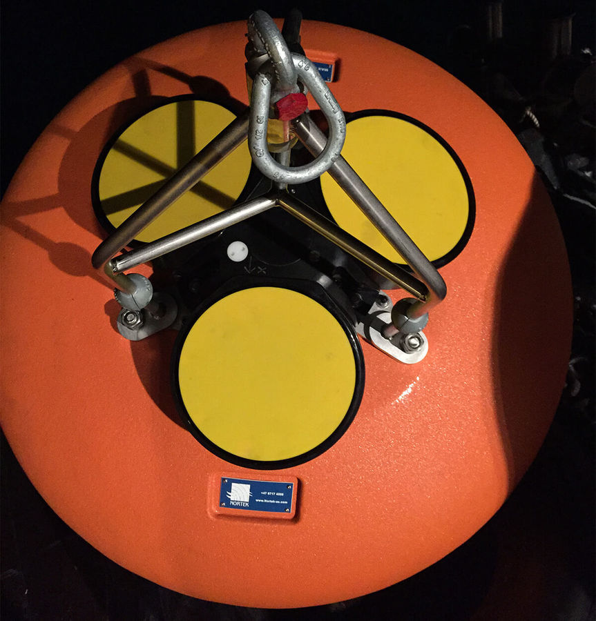 Elliptical ADCP Buoy for Nortek Instrument Closeup