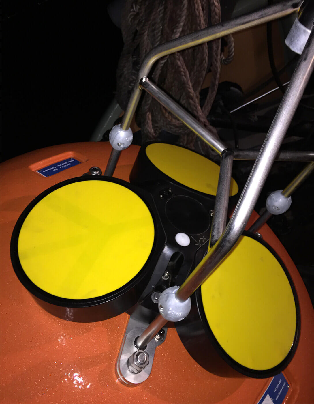 Closeup of Nortek Sig55 in DeepWater ADCP Buoy