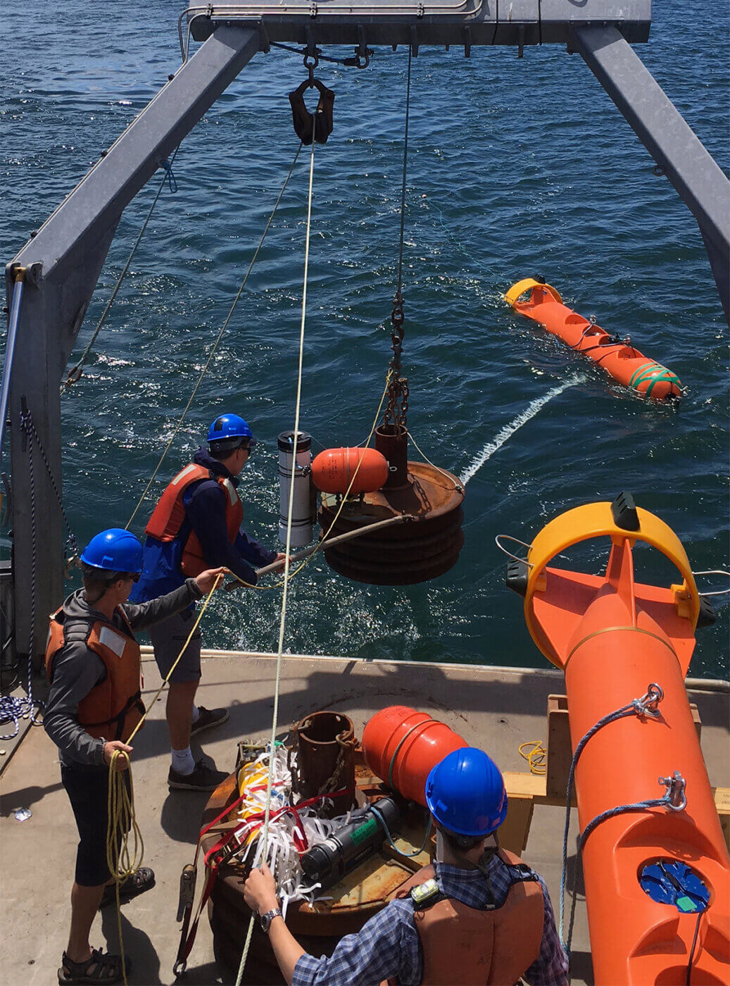 Deploying a DeepWater Buoyancy StableMoor ADCP Buoy